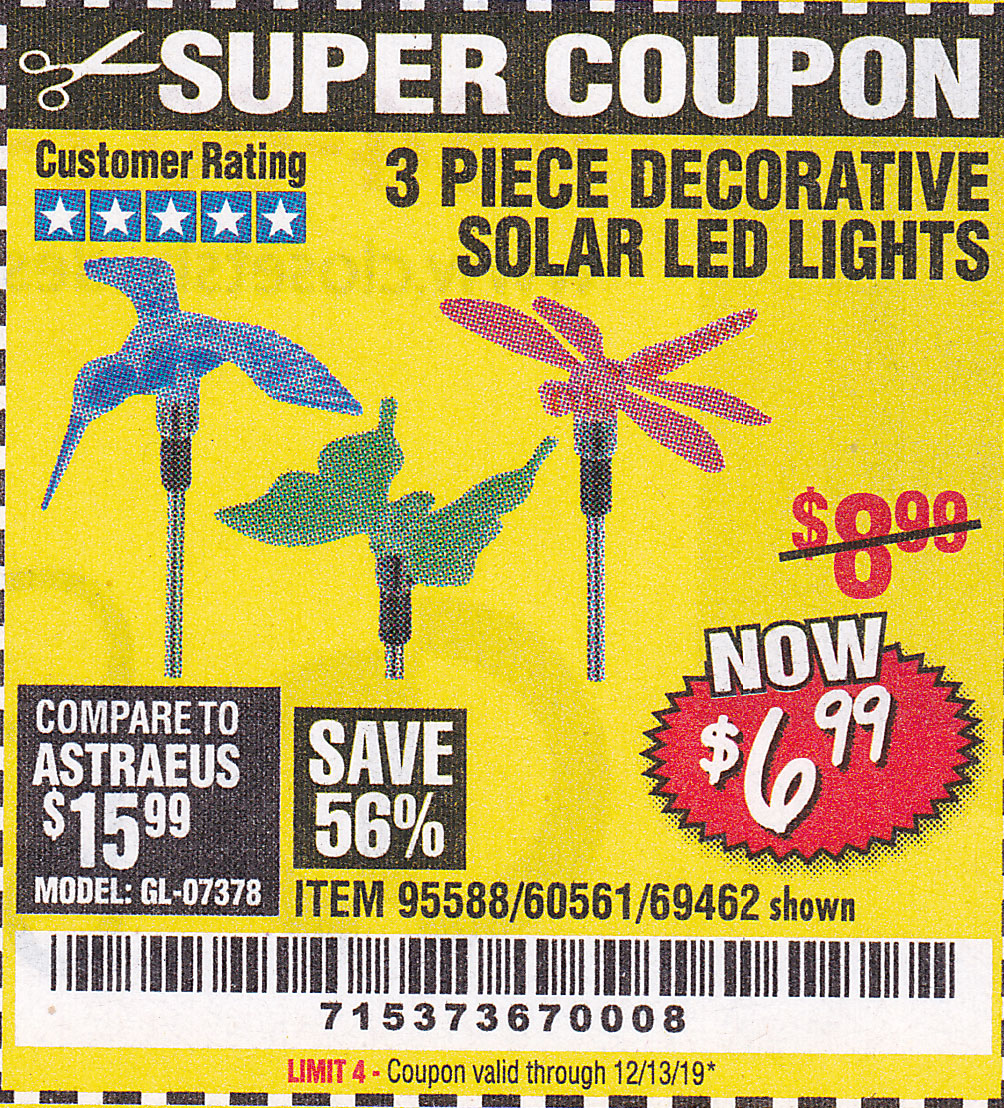 Harbor Freight 3 PIECE DECORATIVE SOLAR LED LIGHTS coupon