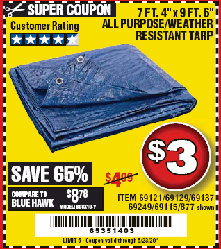 "www.hfqpdb.com - 7 FT. 4"" x 9 FT. 6"" ALL PURPOSE WEATHER RESISTANT TARP Lot No. 877/69115/69121/69129/69137/69249"
