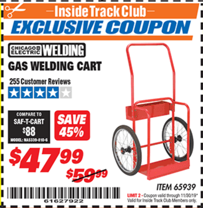 Harbor Freight GAS WELDING CART coupon