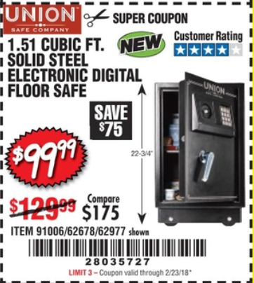 Harbor Freight 1.51 CUBIC FT. SOLID STEEL DIGITAL FLOOR SAFE coupon