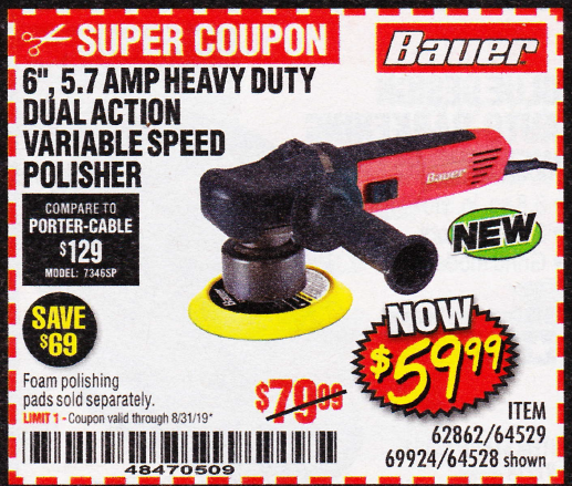 www.hfqpdb.com - 6 IN. 5.7 AMP HEAVY DUTY DUAL ACTION VARIABLE SPEED POLISHER Lot No. 62862
