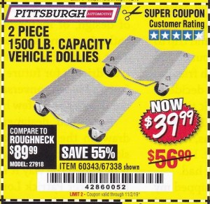 Harbor Freight 2 PIECE 1500 LB. CAPACITY VEHICLE WHEEL DOLLIES coupon