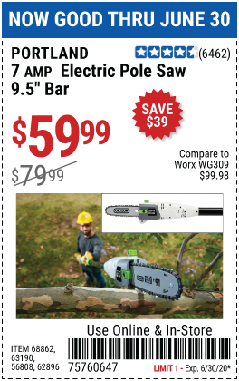 Harbor Freight 7 AMP 1.5 HP ELECTRIC POLE SAW coupon