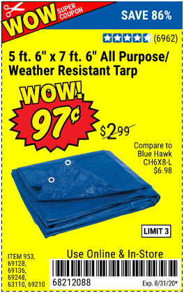 "www.hfqpdb.com - 5 FT. 6"" X 7 FT. 6"" ALL PURPOSE WEATHER RESISTANT TARP Lot No. 953/63110/69210/69128/69136/69248"