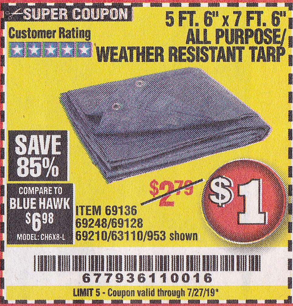 "www.hfqpdb.com - 5 FT. 6"" x 7 FT. 6"" ALL PURPOSE WEATHER RESISTANT TARP Lot No. 953/69210/69128/69136/69248"