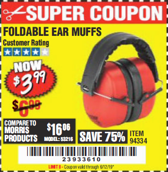 Harbor Freight FOLDABLE EAR MUFFS coupon