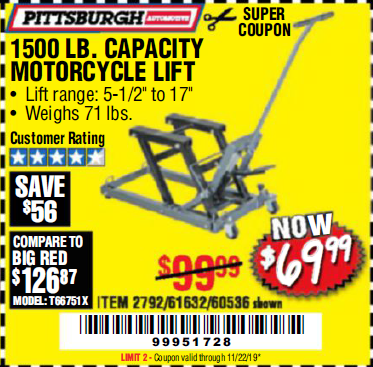 Harbor Freight 1500 LB. CAPACITY ATV/MOTORCYCLE LIFT coupon