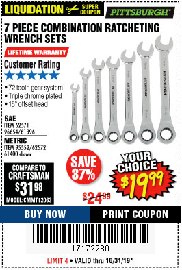Harbor Freight 7 PIECE RATCHETING COMBINATION WRENCH SETS coupon