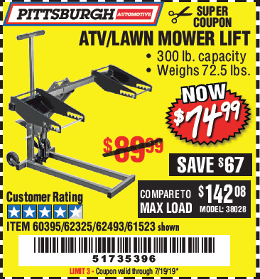Harbor Freight HIGH LIFT RIDING LAWN MOWER/ATV LIFT coupon