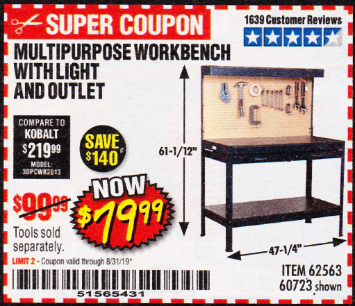 www.hfqpdb.com - MULTIPURPOSE WORKBENCH WITH LIGHTING AND OUTLET Lot No. 62563/60723/99681