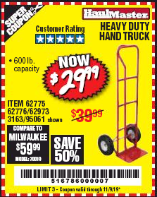 Harbor Freight HEAVY DUTY HAND TRUCK coupon