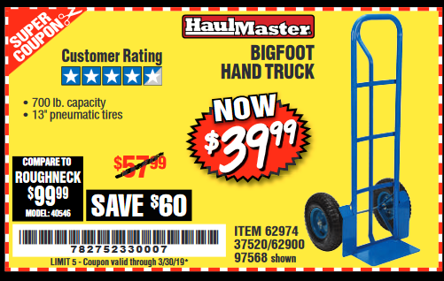 Harbor Freight BIGFOOT HAND TRUCK coupon