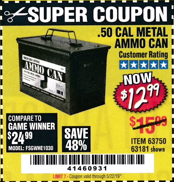 Harbor Freight .50 CAL METAL AMMO CAN coupon