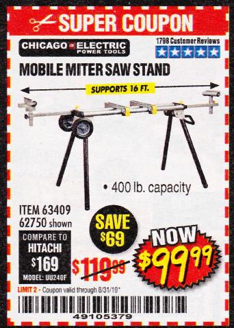 www.hfqpdb.com - HEAVY DUTY MOBILE MITER SAW STAND Lot No. 63409/62750