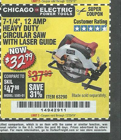 "www.hfqpdb.com - 7-1/4"", 12 AMP HEAVY DUTY CIRCULAR SAW WITH LASER GUIDE SYSTEM Lot No. 63290"