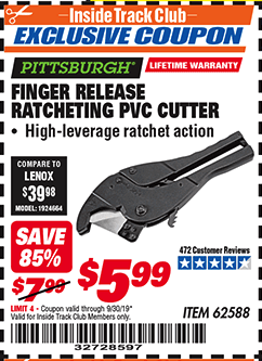 Harbor Freight FINGER RELEASE RATCHETING PVC CUTTER coupon