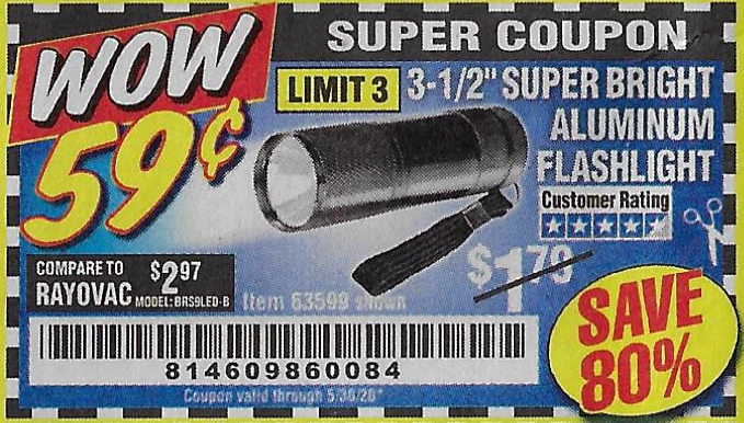 "www.hfqpdb.com - 3-1/2"" SUPER BRIGHT ALUMINUM FLASHLIGHT Lot No. 69111/63599/62522/62573/63875/63884/63886/63888/69052"