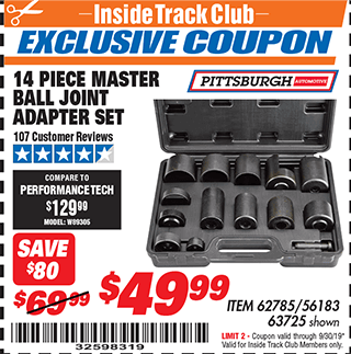 Harbor Freight 14 PIECE MASTER BALL JOINT ADAPTER SET coupon