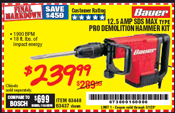 Harbor Freight BAUER 12.5 AMP SDS MAX TYPE PRO HAMMER KIT coupon