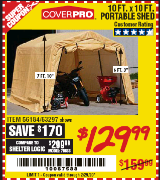 Harbor Freight COVERPRO 10 FT. X 10 FT. PORTABLE SHED coupon