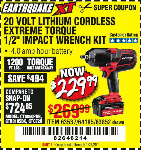Harbor Freight EARTHQUAKE XT 20 VOLT CORDLESS EXTREME TORQUE 1/2