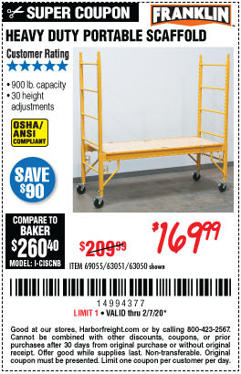 Harbor Freight HEAVY DUTY PORTABLE SCAFFOLD coupon