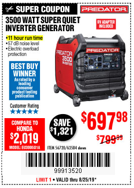 Harbor Freight 3500 WATT SUPER QUIET INVERTER GENERATOR coupon