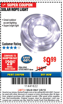 Harbor Freight ITC Coupon SOLAR ROPE LIGHT Lot No. 68353/62533/63941/ ITC SOLAR  ROPE LIGHT Lot No. 68353/62533/63941/64625 Expired: 3/8/18   $9.99 Coupon  ...