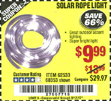 Harbor Freight Coupon SOLAR ROPE LIGHT Lot No. 68353/62533/63941/64625 SOLAR  ROPE LIGHT Lot No. 68353/62533/63941/64625 Expired: 8/12/17   $9.99 Coupon  ...