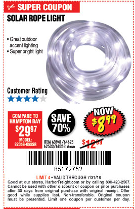 Harbor Freight Coupon SOLAR ROPE LIGHT Lot No. 68353/62533/63941/64625 SOLAR  ROPE LIGHT Lot No. 68353/62533/63941/64625 Expired: 7/31/18   $8.99 Coupon  ...
