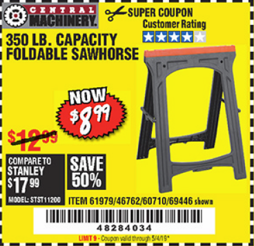 Harbor Freight 350 LB. CAPACITY FOLDING SAWHORSE coupon