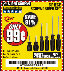 www.hfqpdb.com - 6 PIECE SCREWDRIVER SET Lot No. 62570