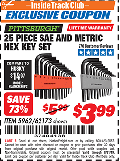 Harbor Freight 25 PIECE HEX KEY SET coupon