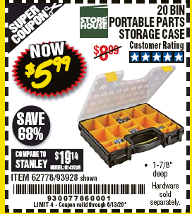 Harbor Freight 20 BIN PORTABLE PARTS STORAGE CASE coupon