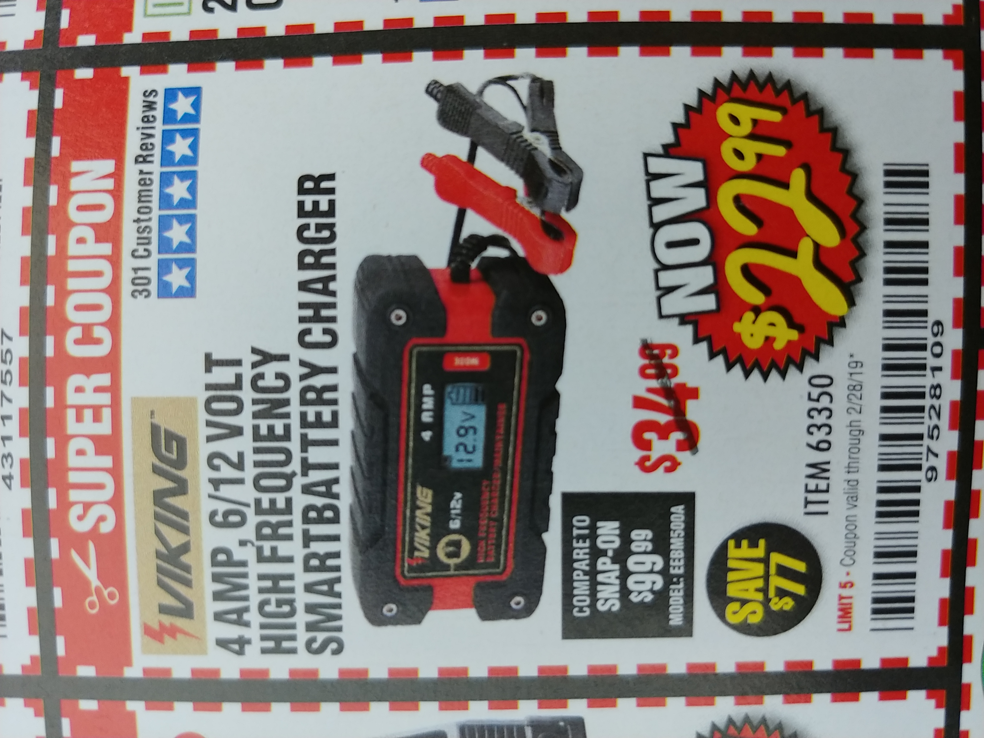 Harbor Freight 4AMP 6/12V HIGH FREQUENCY SMART BATTERY CHARGER coupon