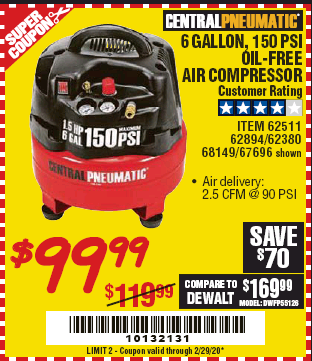Harbor Freight 1.5 HP, 6 GALLON, 150 PSI PROFESSIONAL AIR COMPRESSOR coupon
