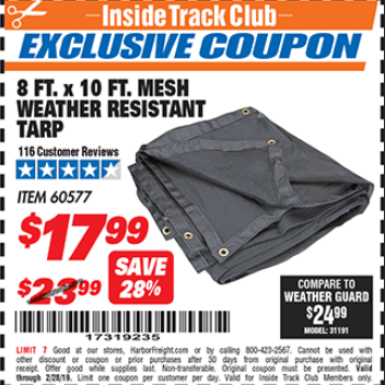 Harbor Freight 8 FT. X 10 FT. MESH WEATHER RESISTANT TARP coupon