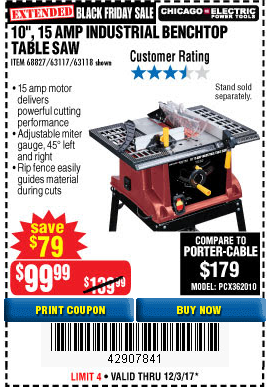 Harbor freight tools coupon database free coupons 25 percent off 10 15 amp benchtop table saw lot no 688276311763118 expired 12317 9999 greentooth Choice Image