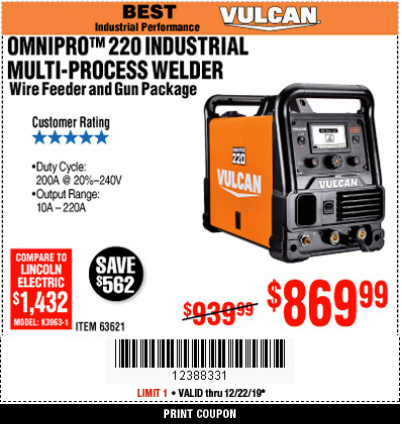 Harbor Freight VULCAN OMNIPRO 220 MULTIPROCESS WELDER WITH 120/240 VOLT INPUT coupon
