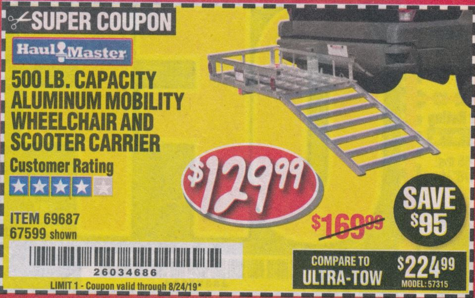 Harbor Freight 500 LB. CAPACITY ALUMINUM MOBILITY WHEELCHAIR AND SCOOTER CARRIER coupon