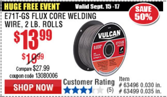 E71T-GS Flux Core Welding Wire USA SELLER Roll Vulcan 0.035 in 2.00 Lbs
