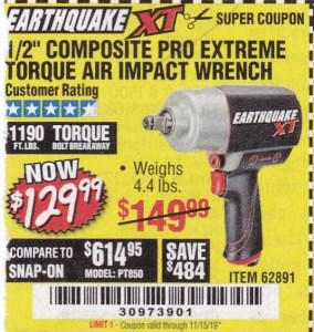 "www.hfqpdb.com - 1/2"" COMPOSITE PRO EXTREME TORQUE AIR IMPACT WRENCH Lot No. 62891"