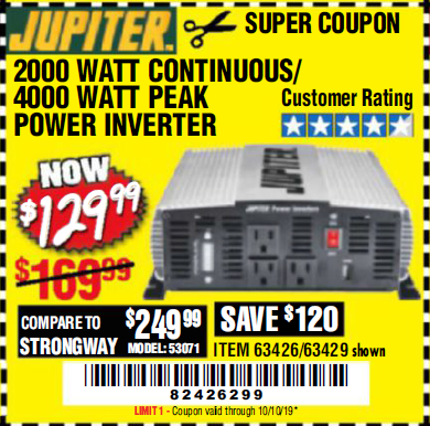Harbor Freight 2000 WATT CONTINUOUS/4000 WATT PEAK POWER INVERTER coupon
