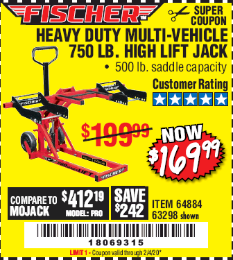 Harbor Freight 750LB. HEAVY DUTY ATV/MOWER HIGH LIFT JACK coupon