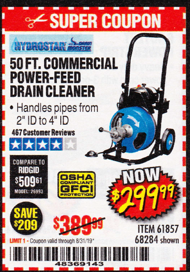 Harbor Freight 50 FT. COMMERCIAL POWER-FEED DRAIN CLEANER coupon