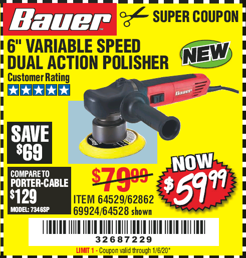 "www.hfqpdb.com - BAUER 6"" VARIABLE SPEED DUAL ACTION POLISHER Lot No. 69924/62862/64528/64529"