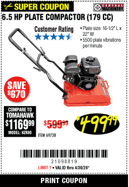 Harbor Freight 6.5 HP PLATE COMPACTOR (179 CC) coupon