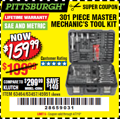 Harbor Freight 301 PIECE MASTER MECHANIC'S TOOL KIT coupon
