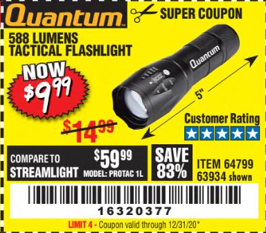 Harbor Freight 588 LUMEN TACTICAL FLASHLIGHT coupon