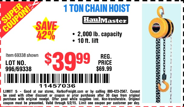 Harbor Freight Tools Database - Free s, 25 percent off ... on harbor freight hoist motor, harbor freight hoist system, harbor freight hoist repair,